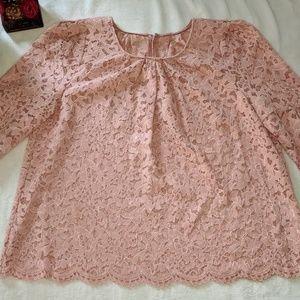 Jill Stuart Pink 3/4 Sleeve Lace Blouse Small EUC